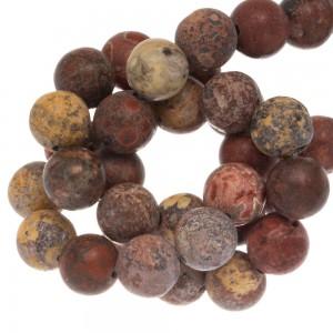 Edelsteen kraal leopard skin rond bruin 10mm