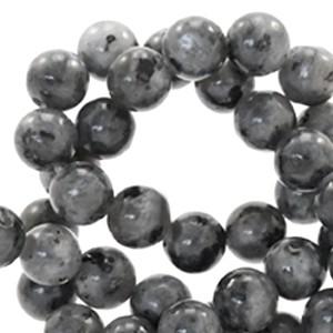 Edelsteen kraal rond 6mm anthracite grey
