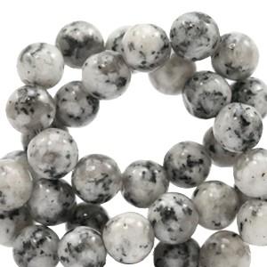 Edelsteen kraal rond 6mm black-white