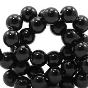 Edelsteen kraal rond 6mm black