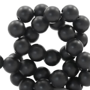 Edelsteen kraal rond 6mm matt black