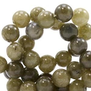 Edelsteen kraal rond 6mm olive green