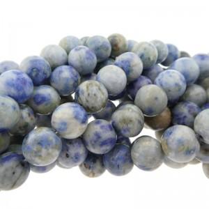 Edelsteen kraal rond 8mm agaat blauw wit