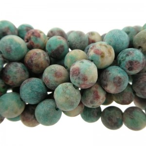 Edelsteen kraal rond 8mm agaat mat aqua blauw groen bruin