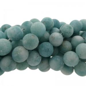 Edelsteen kraal rond 8mm agaat mat aqua blauw groen