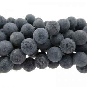 Edelsteen kraal rond 8mm agaat mat blauw