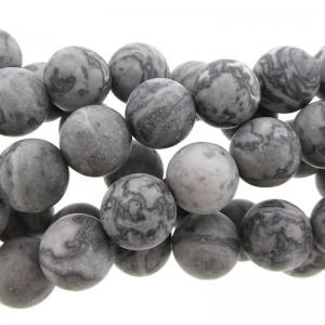 Edelsteen kraal silk rond zwart grijs 10mm mat