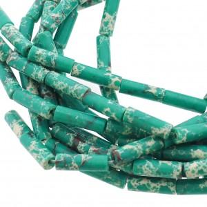 Edelsteen / natuursteen jaspis tube kralen rond 13x4mm groen
