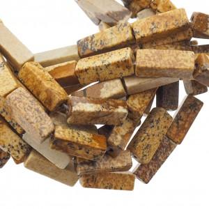 Edelsteen / natuursteen jaspis tube kralen rond 13x5mm bruin
