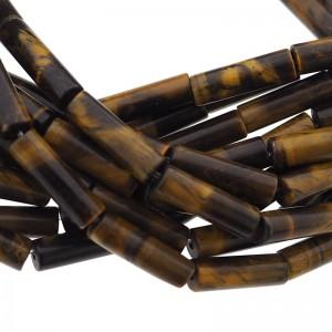 Edelsteen / natuursteen tijgeroog tube kralen rond 13x4mm bruin