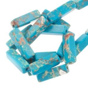 Edelsteen / natuursteen turquoise tube kralen rond 13x5mm blauw
