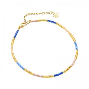 Enkelbandje kralen Biba kleurenmix blauw goudkleurig