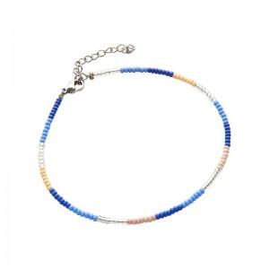Enkelbandje kralen Biba kleurenmix blauw zilverkleurig
