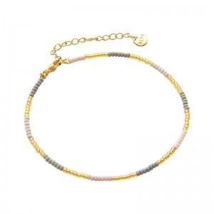 Enkelbandje kralen Biba kleurenmix grijs goudkleurig