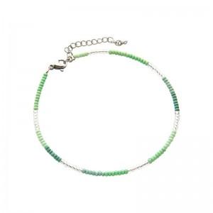 Enkelbandje kralen Biba kleurenmix groen zilverkleurig