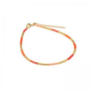 Enkelbandje kralen Biba kleurenmix oranje rood goudkleurig
