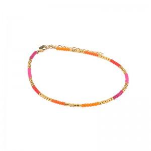 Enkelbandje kralen Biba kleurenmix oranje roze goudkleurig