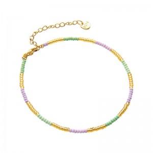 Enkelbandje kralen Biba kleurenmix paars goudkleurig