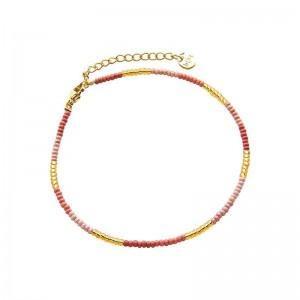 Enkelbandje kralen Biba kleurenmix roze 2 goudkleurig