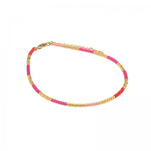 Enkelbandje kralen Biba kleurenmix roze goudkleurig