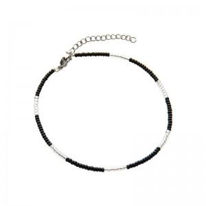 Enkelbandje kralen Biba kleurenmix zwart zilverkleurig