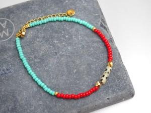 DIY pakket kralenarmbandje red catalina blue naturestone