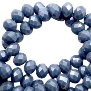Facet glaskraal air force blue pearl (high shine coating) 6x4mm