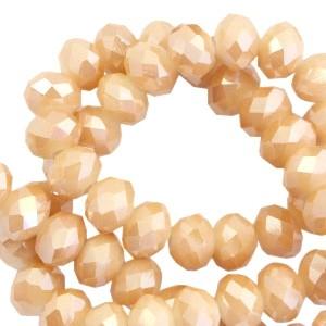 Facet glaskraal beige pearl (high shine coating) 6x4mm
