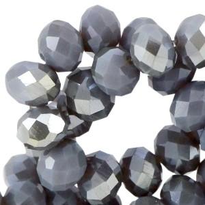 Facet glaskraal blue shade topaz (half diamond gold coating) 6x4mm
