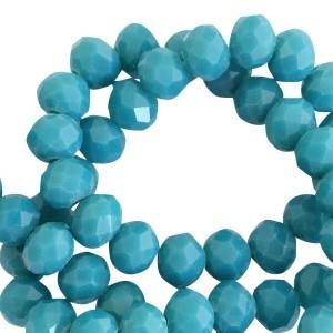 Facet glaskraal blue zircon opaque pearl (shine coating) 6x4mm