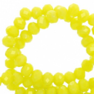 Facet glaskraal charlock yellow-pearl shine coating 6x4mm