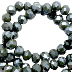 Facet glaskraal covert green pearl (high shine coating) 6x4mm