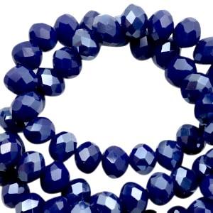 Facet glaskraal dazzling blue half pearl (high shine coating) 6x4mm