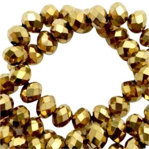 Facet glaskraal gold pearl (high shine coating) 6x4mm