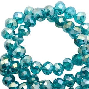 Facet glaskraal lagoon greenish blue half gold pearl (high shine coating) 6x4mm