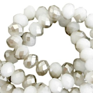 Facet glaskraal light grey half greige half pearl (high shine coating) 6x4mm