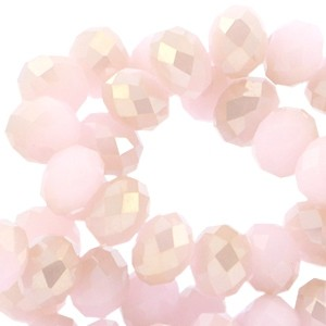 Facet glaskraal light pink (half gold coating) 8x6mm