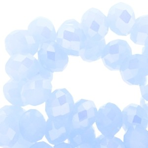 Facet glaskraal light sapphire (pearl diamond coating) 6x4mm