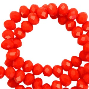 Facet glaskraal living coral red-pearl shine coating 6x4mm