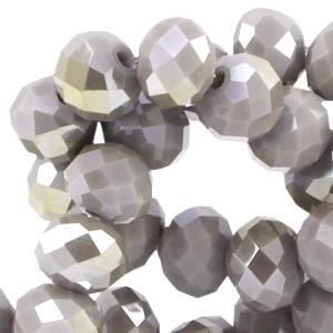 Facet glaskraal metal grey opaque (half diamond gold coating) 6x4mm