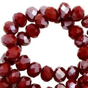 Facet glaskraal ruby red half silver metallic pearl (high shine coating) 6x4mm
