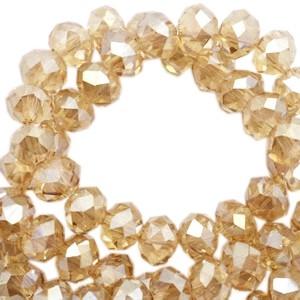 Facet glaskraal sandlewood champagne pearl (high shine coating) 6x4mm