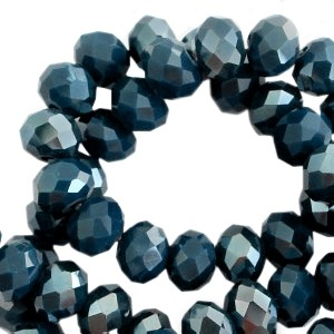 Facet glaskraal slate blue pearl (high shine coating) 6x4mm
