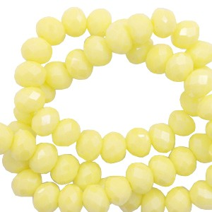 Facet glaskraal sunshine yellow-pearl shine coating 6x4mm