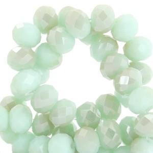Facet glaskraal velvet mint green half champagne half pearl (shine coating) 6x4mm