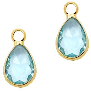 Facet hanger druppel 12x6mm light turquoise blue crystal / goud