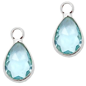Facet hanger druppel 12x6mm light turquoise blue crystal / zilver