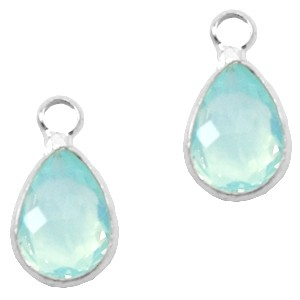 Facet hanger druppel 12x6mm light turquoise blue opal / zilver