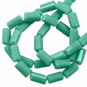 Facet kraal tube rechthoek 7x3mm mint green