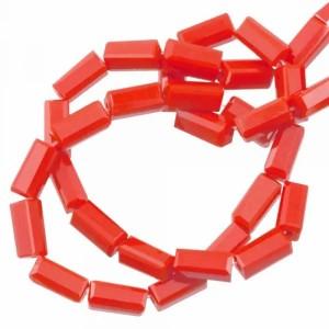 Facet kraal tube rechthoek 7x3mm tomato red